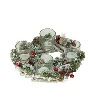 """Northlight 10"""" Frosted Berries, Branches and Stars Christmas Wreath Votive Candle Holder Centerpiece - Brown/Green"""