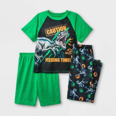 Boys' Jurassic World 3pc Pajama Set - Green/Black