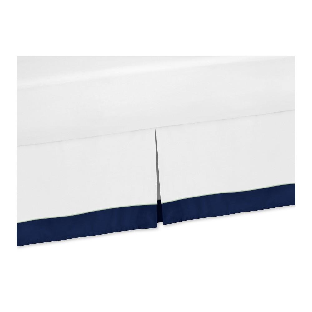 Image of Navy Woodsy Bed Skirt (Queen) - Sweet Jojo Designs, Pink White