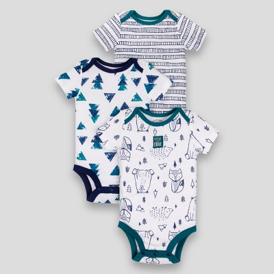 Lamaze Baby Boys' Organic Short Sleeve Animal Print Bodysuit - Blue Newborn