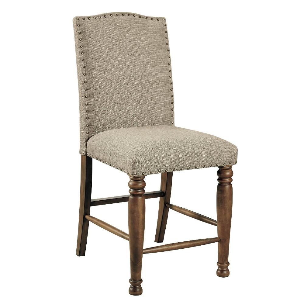 Best Set of 2 Lettner Upholstered Barstool Gray/Brown - Signature Design by Ashley