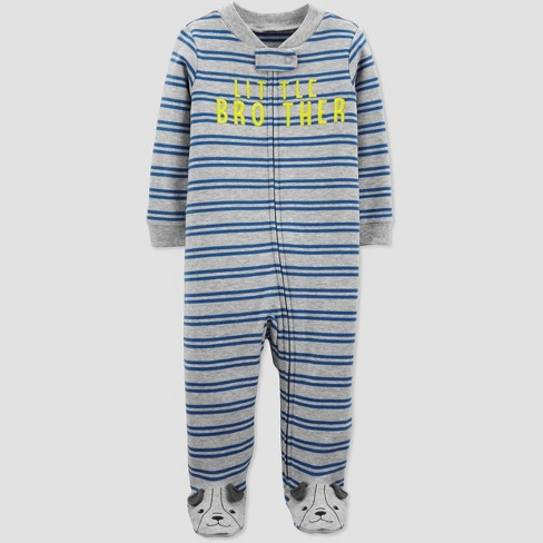 "Baby Boys' ""Little Brother"" Sleep 'N Play One Piece Pajama - Just One You® made by carter's Gray - image 1 of 1"