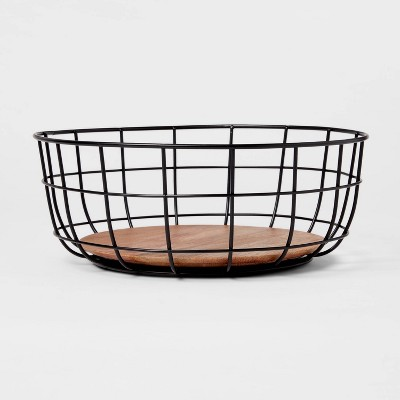 Iron and Mangowood Wire Fruit Basket Black - Threshold™