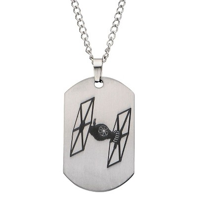"""Men's Star Wars The Force Awakens Tie Fighter Laser Etched Stainless Steel Dog Tag Pendant with Chain (22"""")"""