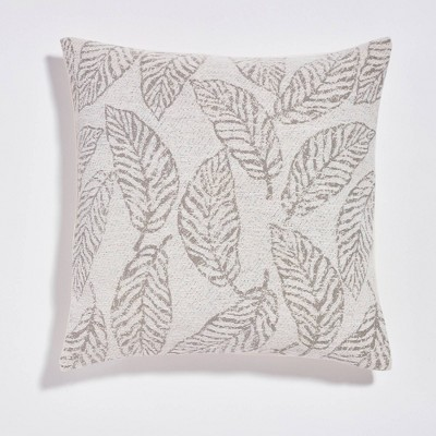 """20""""x20"""" Palm Leaves Jacquard Reversible Throw Pillow Ivory - Sure Fit"""