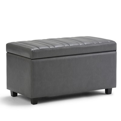 "34"" Callum Storage Ottoman Bench Stone Gray Faux Leather - WyndenHall"