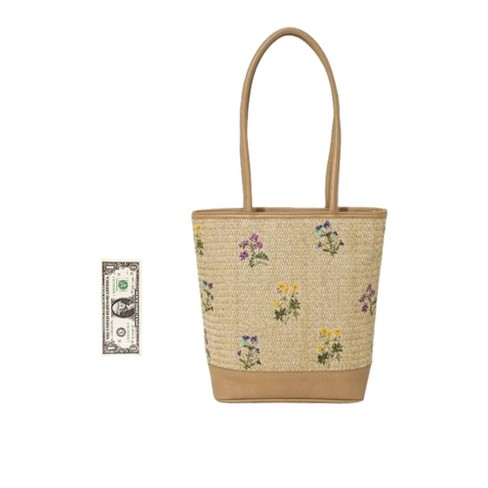 389b3dfa686d Bueno Floral Print Straw Tote Handbag With Embroidery - Natural