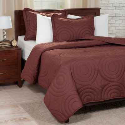 3pc King Solid Embossed Quilt Set Chocolate - Yorkshire Home