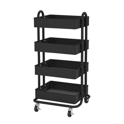 ECR4Kids 4-Tier Heavy-Duty Rolling Utility Cart - Mobile Storage Organizer - Black