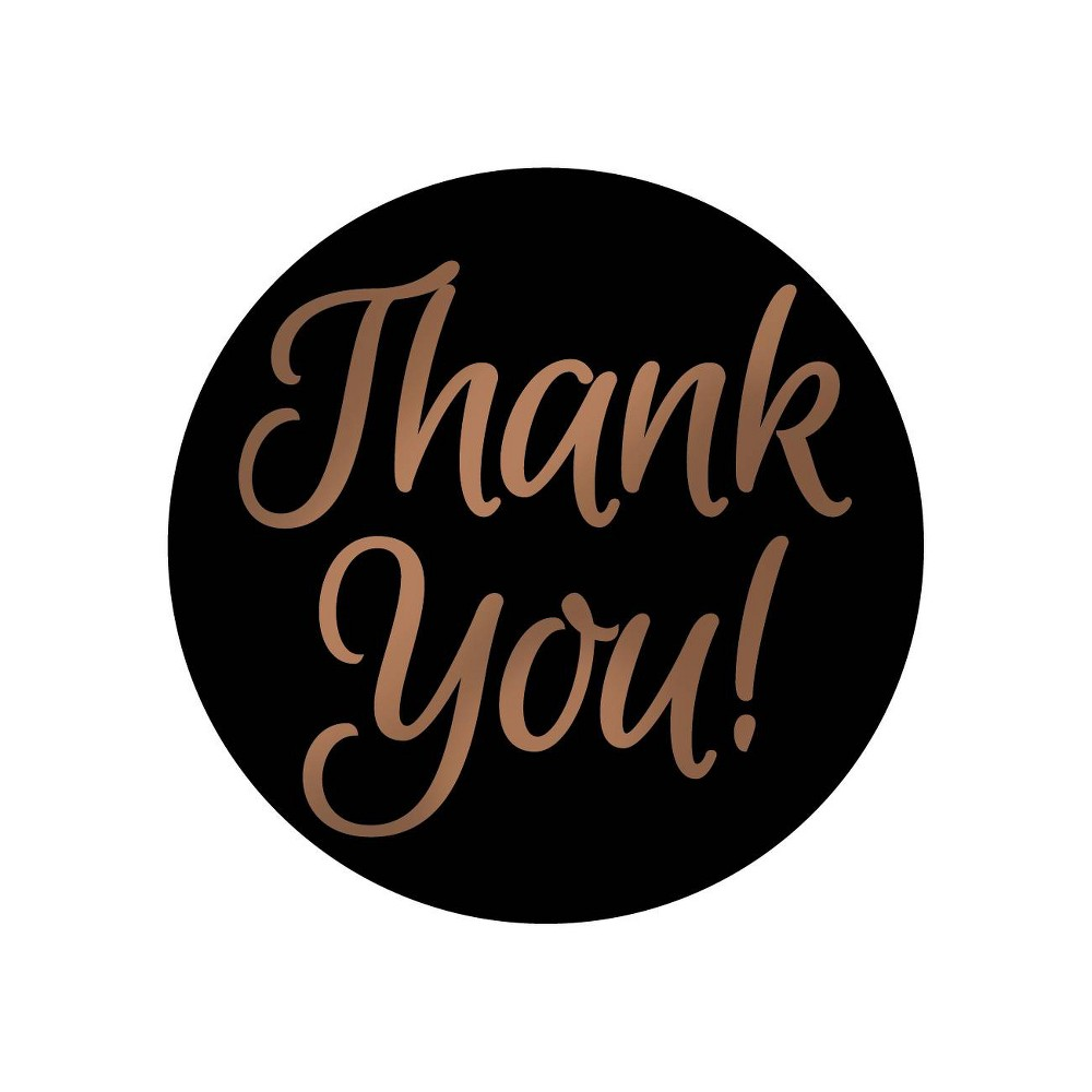 "Image of ""250ct """"Thank You"""" Foil Seal Note Card Black"""