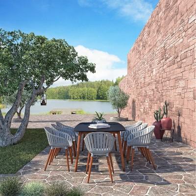 Bungay 9pc Eucalyptus Wood Patio Dining Set with Rectangular Table - Amazonia