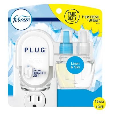 Febreze Fade Defy Plug Air Freshener & Odor Eliminator Starter Kit with Linen & Sky Oil Refill - 87 fl oz