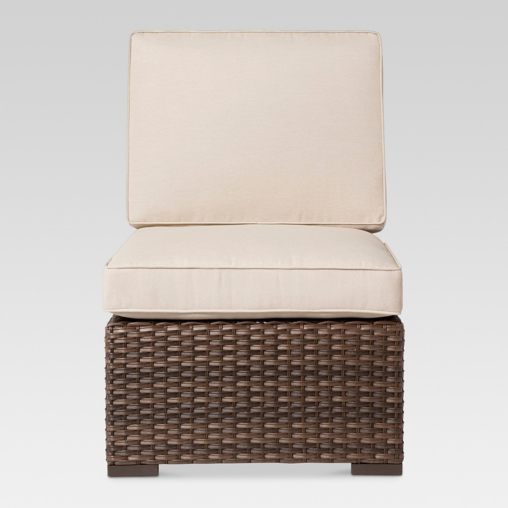 Halsted Wicker Patio Armless Sectional Seat - Tan - Threshold
