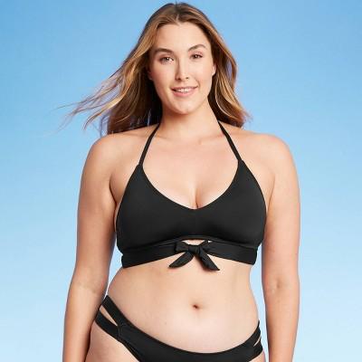 Women's Tie-Front Halter Bralette Bikini Top - Kona Sol™ Black