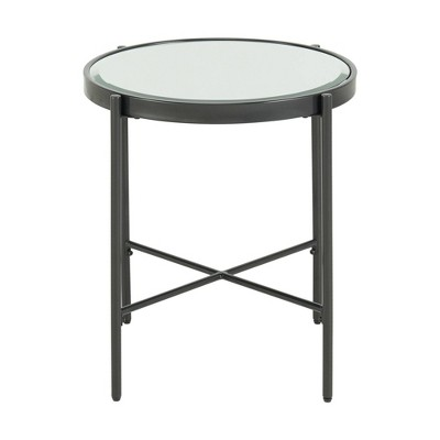 Carlo Round End Table with Glass Top Black - Picket House Furnishings