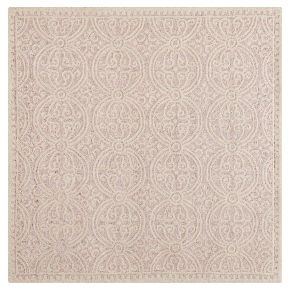 Best Sale PinkIvory Geometric Tufted Square Accent Rug 4X4 Safavieh