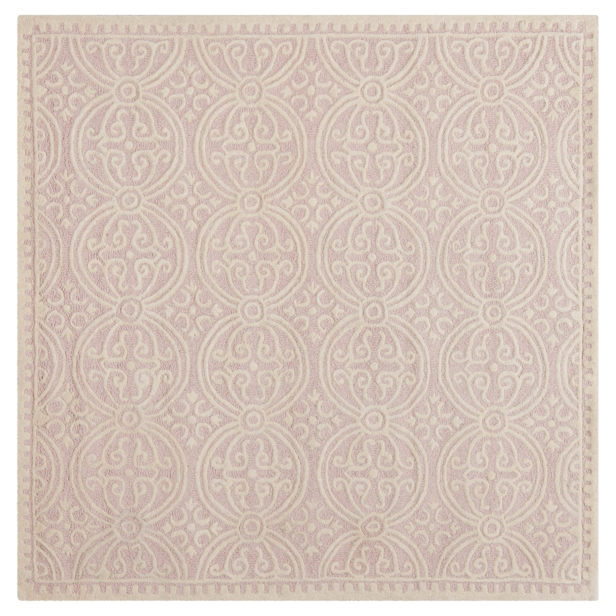 Pink/Ivory Geometric Tufted Square Accent Rug 4'X4' - Safavieh