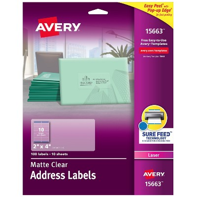"""Avery Matte Clear Shipping Labels Sure Feed Technology Laser 2"""" x 4"""" 792112"""