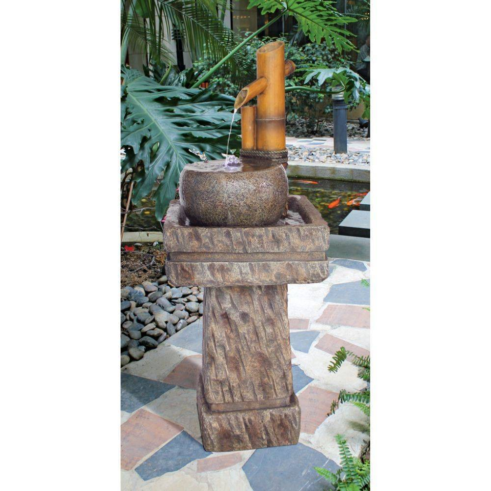 Image of Bamboo Wellspring Pedestal Garden Fountain - Acorn Hollow