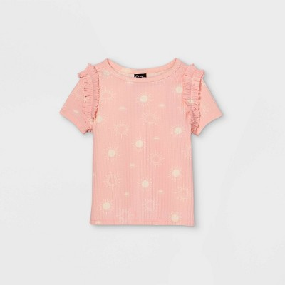 Toddler Girls' Rib Ruffle Short Sleeve T-Shirt - art class™