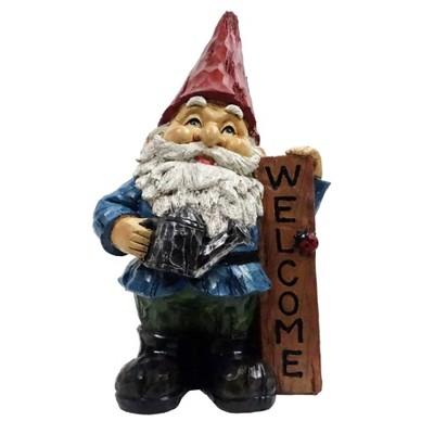 "12"" Polyresin Gnome Welcome Statue - Alpine Corporation"