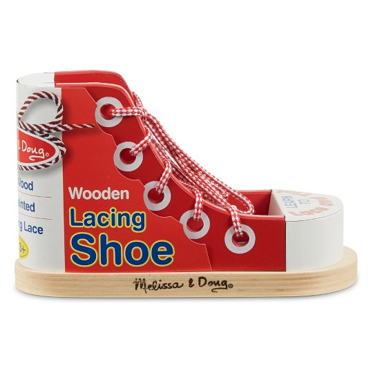 Melissa & Doug Deluxe Wood Lacing Sneaker - Learn to Tie a Shoe Educational Toy image number null