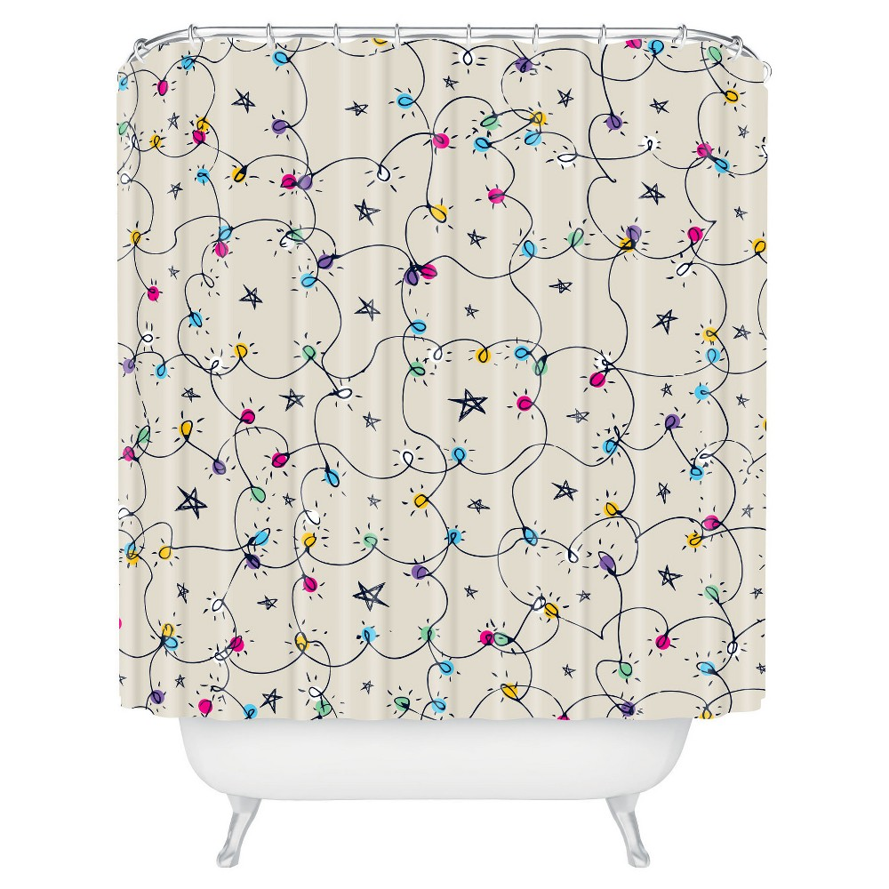 Sam Osborne Fairy Lights Shower Curtain Blue - Deny Designs