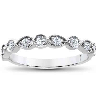 Pompeii3 1/4Ct Diamond Wedding Ring Womens Stackable 10k White Gold Anniversary Band