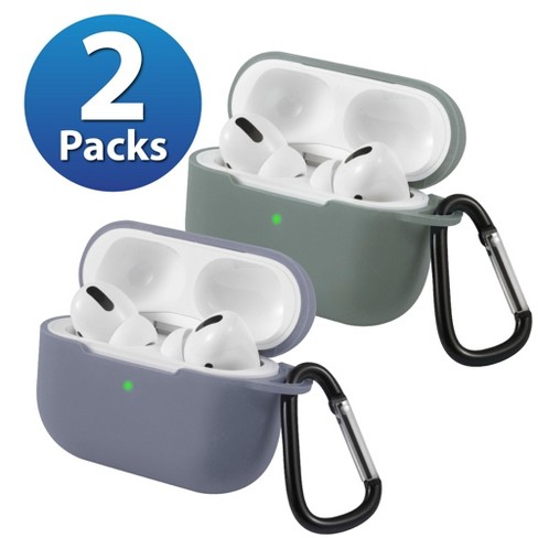 2-Pack For AirPods Pro Case [Midnight Green & Gray] Ultra Thin Silicone Protective Cover with Keychain For Apple AirPods Pro 2019 (3rd Gen) by Insten - image 1 of 1