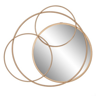 21 x23  Metal Layered Circle wall accent Mirror Gold - Patton Wall Decor