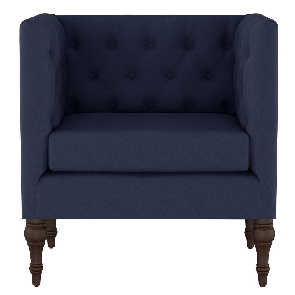 Tilton Square Tufted Arm Chair Velvet Ink - Threshold