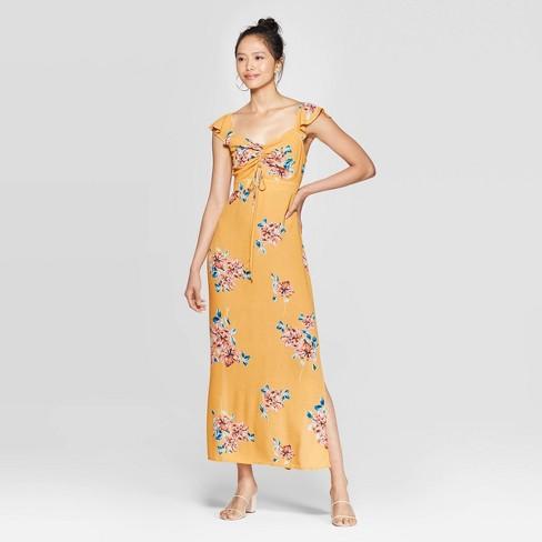 Women's Floral Print Flutter Short Sleeve V-Neck Ruched Front Maxi Dress - Xhilaration™ Mustard - image 1 of 2