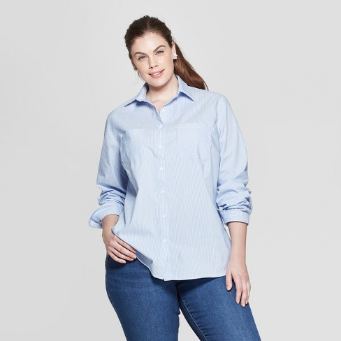 bf0e2de96 Women's Plus Size Striped Long Sleeve Collared Button-Down Shirt - Ava & Viv™  Blue/White