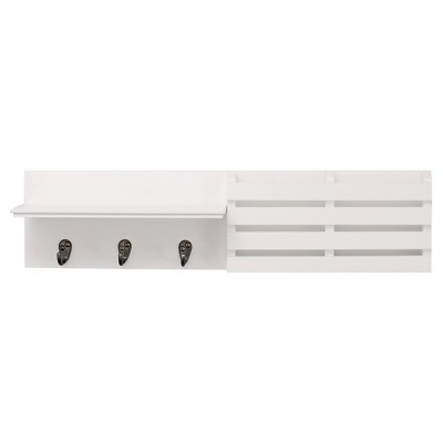 Sydney Wall Shelf with Hooks and Mail Sorter - White