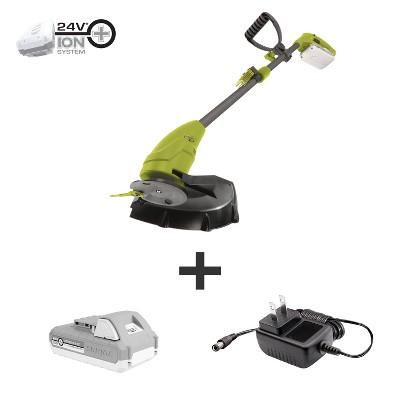 Sun Joe 24V-GT10-LTE 24-Volt iON+ Cordless Lightweight Stringless Grass Trimmer Kit | 10-inch | W/ 2.0-Ah Battery + Charger