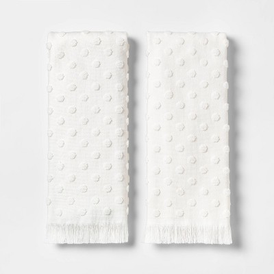 2pk Terry Dot Hand Towel White - Threshold™