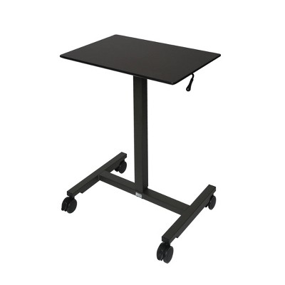 "24.5"" Airlift Pneumatic Adjustable Height Sit and Stand Mobile Laptop Computer Desk Cart Black - Seville Classics"