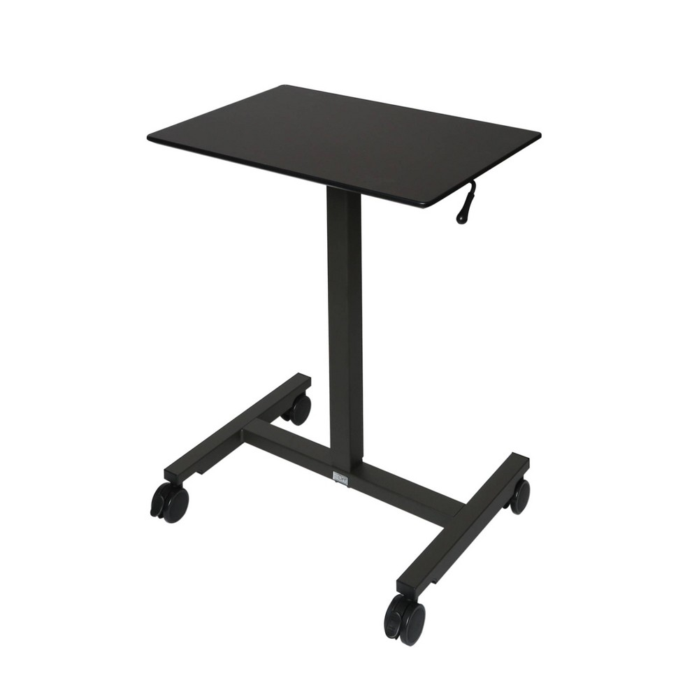 24 5 34 Airlift Pneumatic Adjustable Height Sit And Stand Mobile Laptop Computer Desk Cart Black Seville Classics