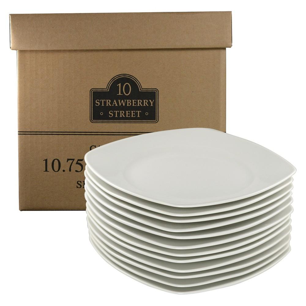 "Image of 10 Strawberry Street 10.5"" Square Dinner Plates, White, Set of 12"