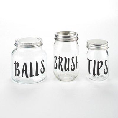 Lakeside Humorous Bathroom or Kitchen Countertop Storage Jars - Set of 3