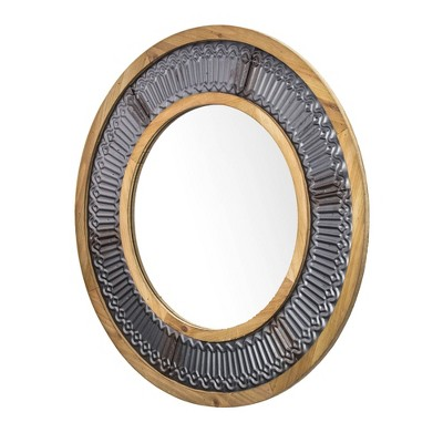 "31"" Round Rustic Wood/Metal Framed Decorative Wall Mirror - Crystal Art Gallery"