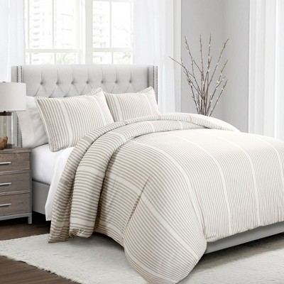 3pc Full/Queen Drew Stripe Duvet Cover Set Taupe - Lush Décor