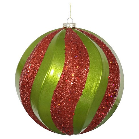 "8"" Lime/Red Candy Glitter Swirl Ball Christmas Ornament - image 1 of 1"