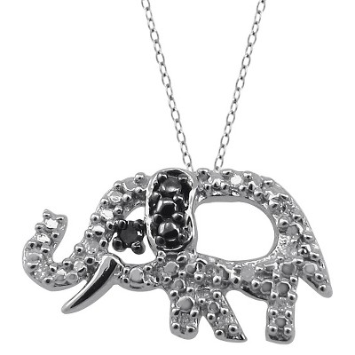 "120 CT.T.W. Round-Cut Black and White Diamond Pave Set Elephant Pendant - White (18"")"
