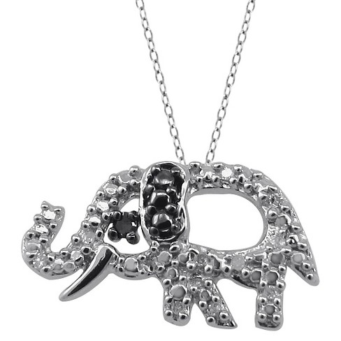 "120 CT. T.W. Round-Cut Black and White Diamond Pave Set Elephant Pendant (18"") - image 1 of 2"