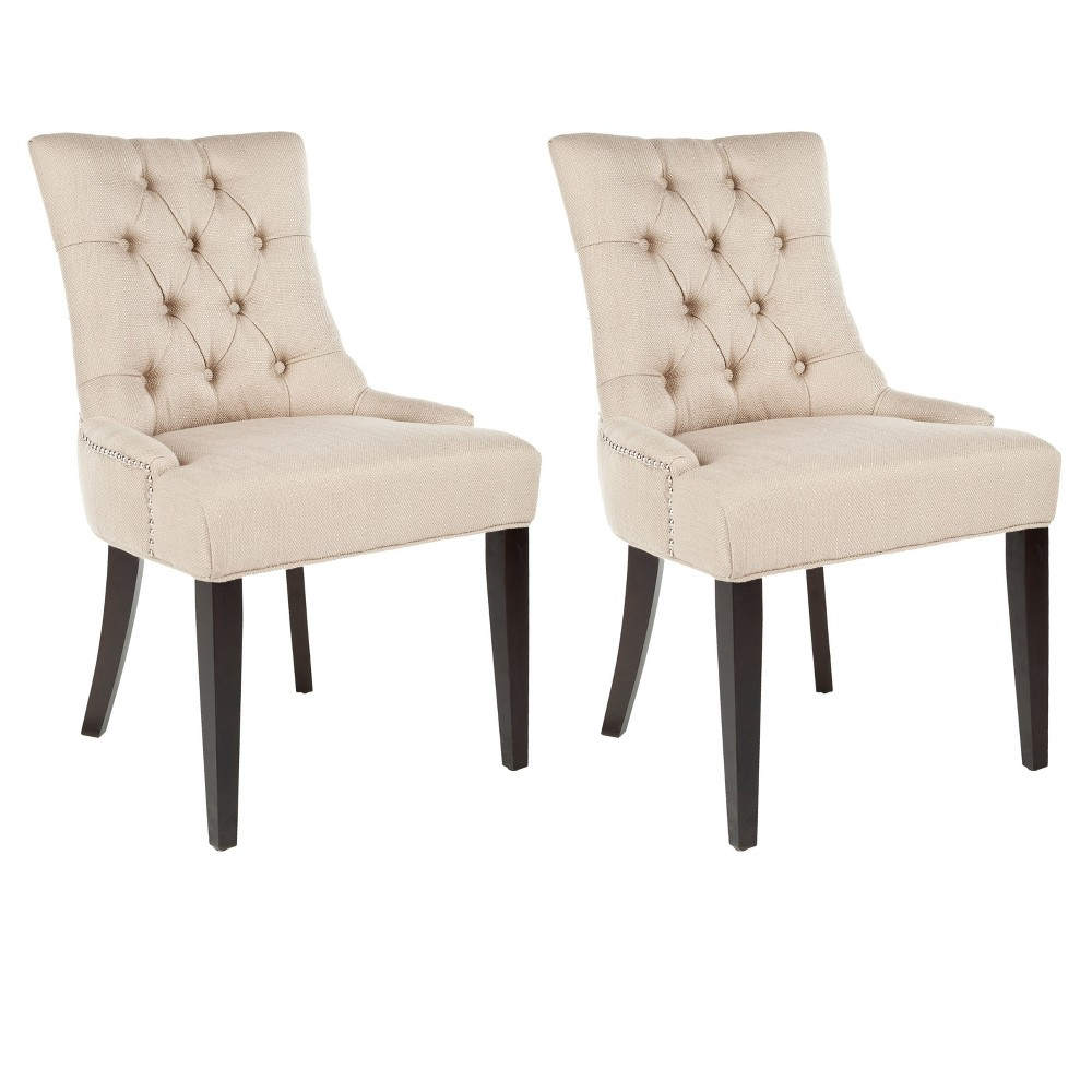 Abby Side Chair Wood/Biscuit Beige (Set of 2) - Safavieh