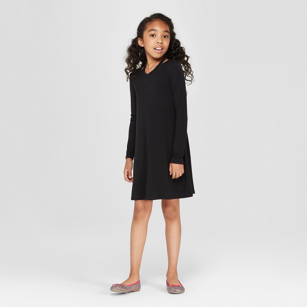Girls' Long Sleeve A Line Dress - art class Black XS