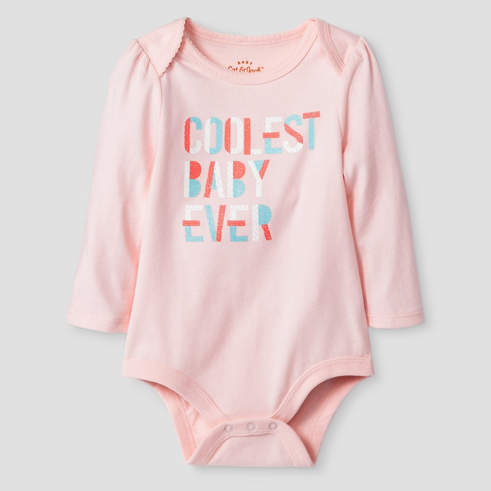 Baby Girls' Long Sleeve Coolest Baby Ever Bodysuit - Cat & Jack Pink 6-9M, Loring Pink Opaque
