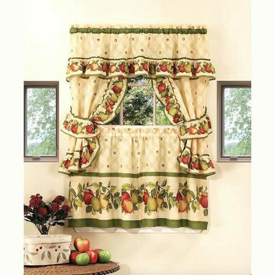 GoodGram Apple Orchard Complete 5 Pc. Kitchen Curtain Tier & Swag Set