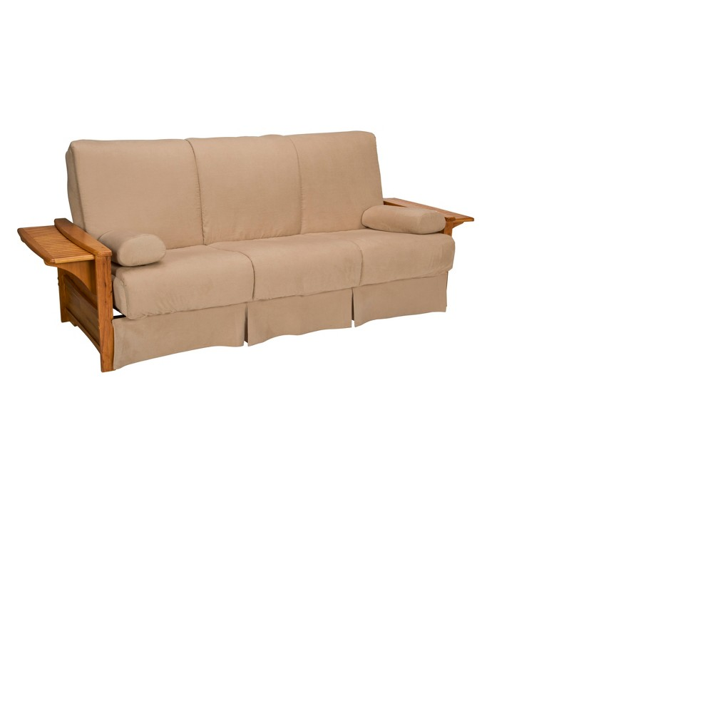 Brooklyn Perfect Futon Sofa Sleeper - Oak Wood Finish - Epic Furnishings, Brown